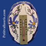 OVAL PLAQUE  WITH THERMOMETER BLUE FLOWER DECORATION