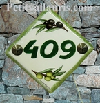 NUMBER ADRESS PLAQUE-TILE OLIVE DECORATING