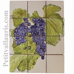 FRESQUE FAIENCE MURALE DECOR GRAPPE DE RAISIN