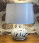 FAIENCE LAMP ELIPSE MODEL OLD MOUSTIERS TRADITION DECORATION