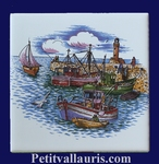 DECOR PORT DE PECHE ATLANTIQUE SUR CARREAU FAIENCE 10 X 10