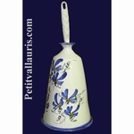 EARTHENWARE CARRY HAND BRUSH BLUE FLOWER DECORATION