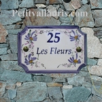PLAQUE DE MAISON RECTANGLE DE STYLE DECOR FLEURS BLEUES