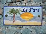 HOUSE PLAQUE MODEL 10 X 20 BEACH AND PALM TREE PAINTING