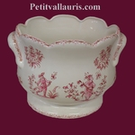 CACHE POT FESTONNE ANSE DECOR TRADITION MOUSTIERS ROSE
