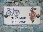 HOUSE PLAQUE MODEL 10 X 20 TREMIERE ROSE & BICYCLE PAINTING