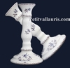 FAIENCE CANDLESTICK BLUE OLD MOUSTIER TRADITION DECORATION