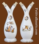 FAIENCE OIL AND VINEGAR BOTTLE OLD MOUSTIERS TRADITION DECOR