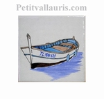 FISH BOAT DECOR ON TILE 10 X 10 CM
