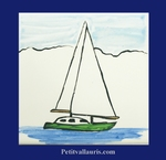 SAILING-BOAT DECOR ON TILE 10 X 10