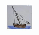 FISH BOAT TARTANE DECOR ON TILE 10 X 10 CM