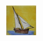 FISH BOAT TARTANE DECOR ON TILE 10 X 10 CM YELLOW BACKGROUND