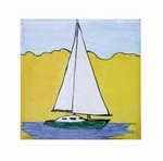 SAILING-BOAT DECOR ON TILE 10 X 10 YELLOW BACKGROUND