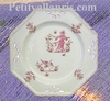 OCTAGONAL PLATE LARGE MODEL PINK OLD MOUSTIERS DECORATION