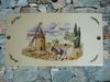 FAIENCE RECTANGULAR FRESCO WINDMILL AND MILLER PAINTING