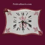 HORLOGE FAIENCE MODELE PARCHEMIN TRADITION MOUSTIERS ROSE