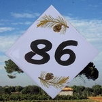 NUMBER ADRESS PLAQUE-TILE PINE-TREE BRANCH DECORATING VT