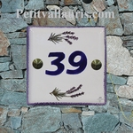 NUMBER ADRESS PLAQUE-TILE LAVANDER BRANCH HORIZONTAL POSE