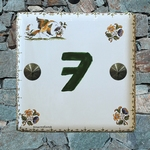 HOME NUMBER PLAQUE OLD MOUSTIERS TRADITION GREEN TEXT