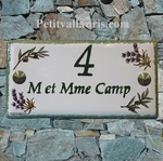 HOUSE PLAQUE OLIVES AND LAVENDERS GREEN COLOR TEXT