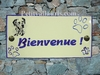 PLAQUE MAISON FAIENCE RECTANGLE DECOR DALMATIEN TEXTE BLEU