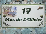 PLAQUE DE MAISON RECTANGLE DECOR BRIN D'OLIVIER ET CALANQUE