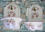 FONTAINE-VASQUE MURALE FAIENCE DECOR FLEURS ROSES