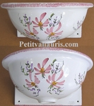 VASQUE MURALE FAIENCE EMAILLEE DECOR FLEURS ROSES TAILLE 2