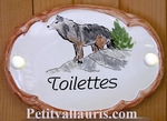 OVAL DOOR PLAQUE WITH WOLF PANTING TOILET TEXT