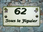 PLAQUE DE MAISON FAIENCE EMAILLEE RECTANGLE DECOR FIGUES