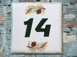 NUMBER ADRESS PLAQUE-TILE PINE-TREE BRANCH DECORATING HZ