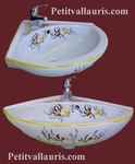PORCELAIN CORNER WASH HAND YELLOW & RED COLOR FLOWERS DECOR