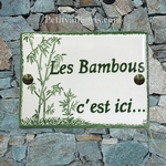 CERAMIC ENAMELLED HOUSE PLAQUE BAMBOO PICTURE