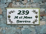 PLAQUE DE MAISON DECORATIVE FAIENCE DECOR BRINS OLIVES