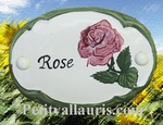CERAMIC OVAL DOOR PLAQUE WITH ROSE FLOWER PANTING