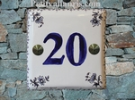 HOUSE NUMBER DECO TRADITION OLD MOUSTIERS BLUE HORIZONTAL