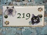PLAQUE DE MAISON FAIENCE RECTANGLE DECOR 2 CHATS (3 ET4)