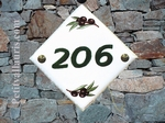 CUSTOMIZED NUMBER DIAGONAL PLAQUE OLIVES BRANCH SIZE 15 X 15
