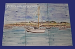 FRESQUE MURALE SUR CARRELAGE FAIENCE DECOR GOLFE DU MORBIHAN