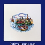 DECOR PORT DE PECHE ATLANTIQUE SUR CARREAU FAIENCE 15 X 15