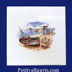DECOR LA MAREE ATLANTIQUE SUR CARREAU FAIENCE 15 X15