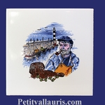 DECOR PATRON PECHEUR BRETON SUR CARREAU FAIENCE 15X15+ 20X20