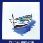 FISH BOAT DECOR ON TILE 15 X 15 CM