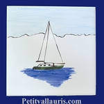 SAILING-BOAT DECOR ON TILE 15 X 15 CM