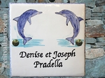CERAMIC HOME PLAQUE WITH DOLPHIN DECORATION