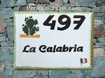 PLAQUE DE MAISON FAIENCE EMAILLEE DECOR CACTUS