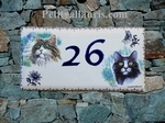 PLAQUE DE MAISON FAIENCE RECTANGLE DECOR 2 CHATS (3 ET5)