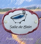 CERAMIC OVAL DOOR PLAQUE WITH BATH DECOR WITH PINK BORDER