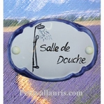 CERAMIC OVAL DOOR PLAQUE WITH SHOWER DECOR WITH BLUE BORDER