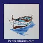 FISH BOAT DECOR ON TILE 20 X 20 CM